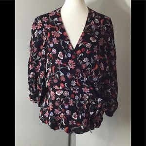 Banana Republic Blouse Side Tie Black Floral NEW
